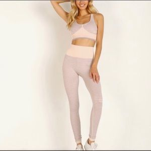Varley hobart seamless pink houndstooth tights